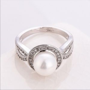 Silver Cut White Pearl (Simulated) Zircon Ring